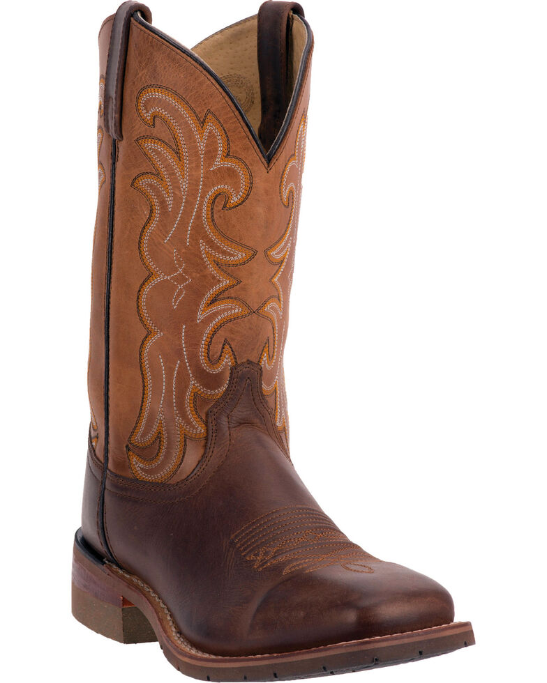 Dan Post Lingbergh Cowboy Boots - Wide Square Toe, Dark Brown, hi-res