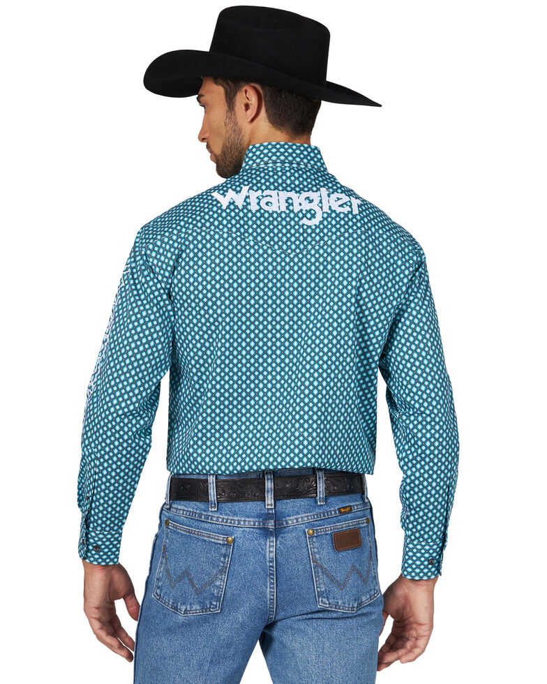 Wrangler Men's Logo Geo Print Long Sleeve Western Shirt , Turquoise, hi-res