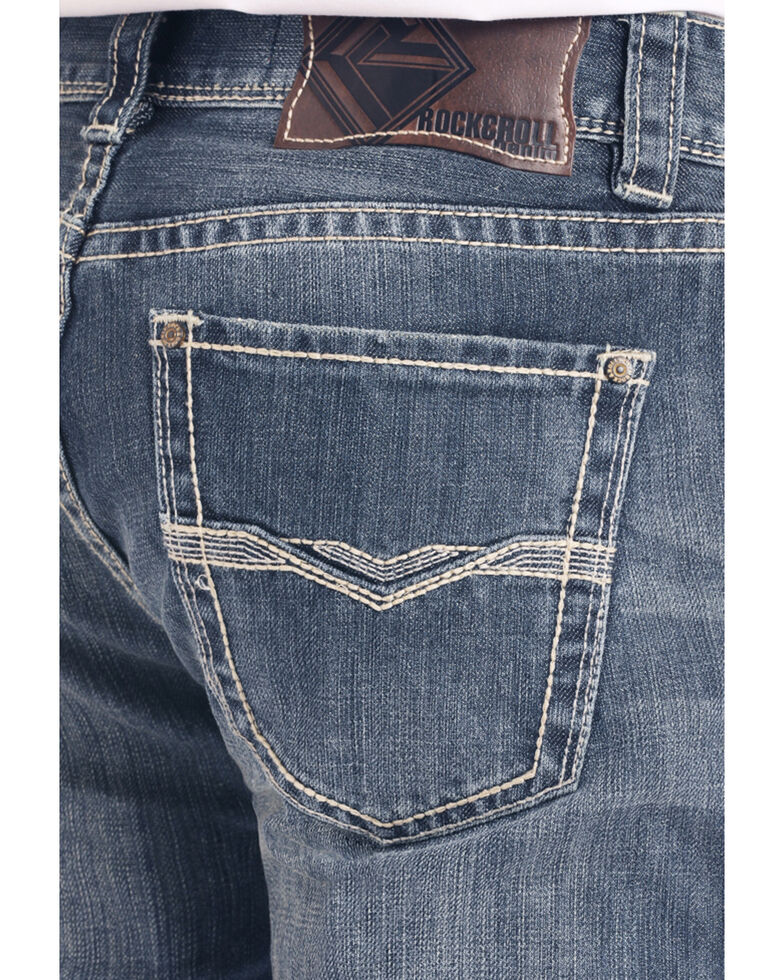 Rock & Roll Denim Men's Dark Pistol Regular Stretch Bootcut Jeans , Blue, hi-res