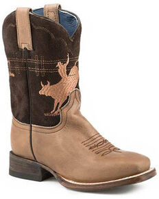 Roper Youth Girls' Marley Western Boots - Square Toe, Tan, hi-res