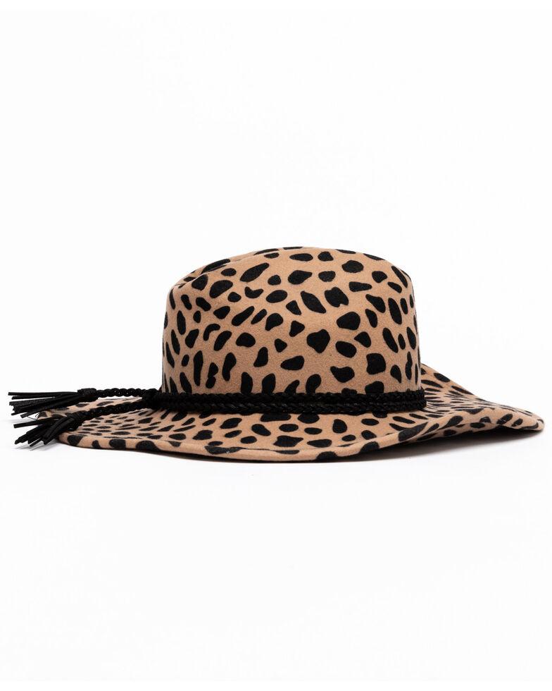 Shyanne Women's Leopard Spot Felt Western Hat , Leopard, hi-res