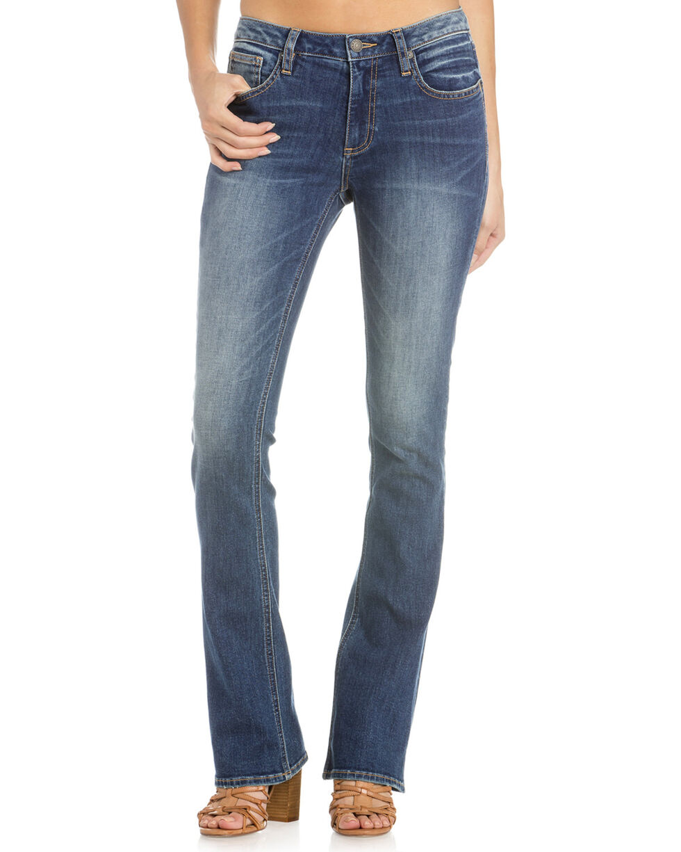 Miss Me Women's Simplicity Is Key Mid-Rise Boot Cut Jeans, Indigo, hi-res