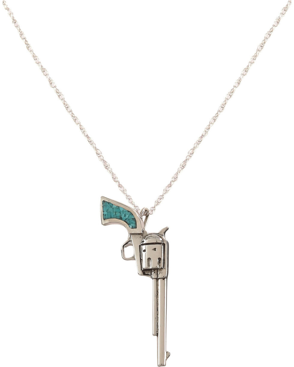 Silver Legends Women's Turquoise Long Barrel Pistol Necklace , Turquoise, hi-res