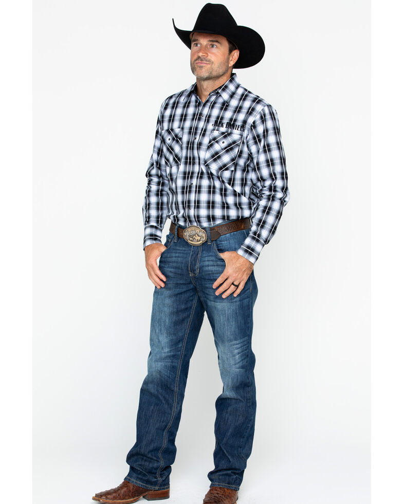 Jack Daniel's Men's Textured Plaid Embroidered Long Sleeve Western Shirt, Black/white, hi-res