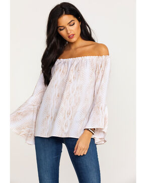 Nikki Erin Women's Snake Print Off Shoulder Top , Tan, hi-res