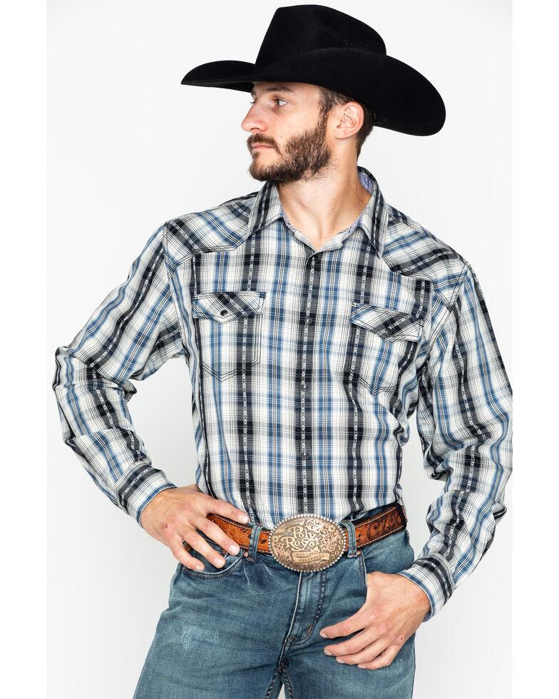 Moonshine Spirit Men's Hound Dog Plaid Long Sleeve Western Shirt , Blue, hi-res