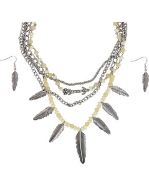 Shyanne® Women's Silver Feathers Jewelry Set, Cream, hi-res