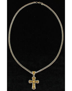 Twister Men's Floral Cross Antique Gold Necklace , Silver, hi-res