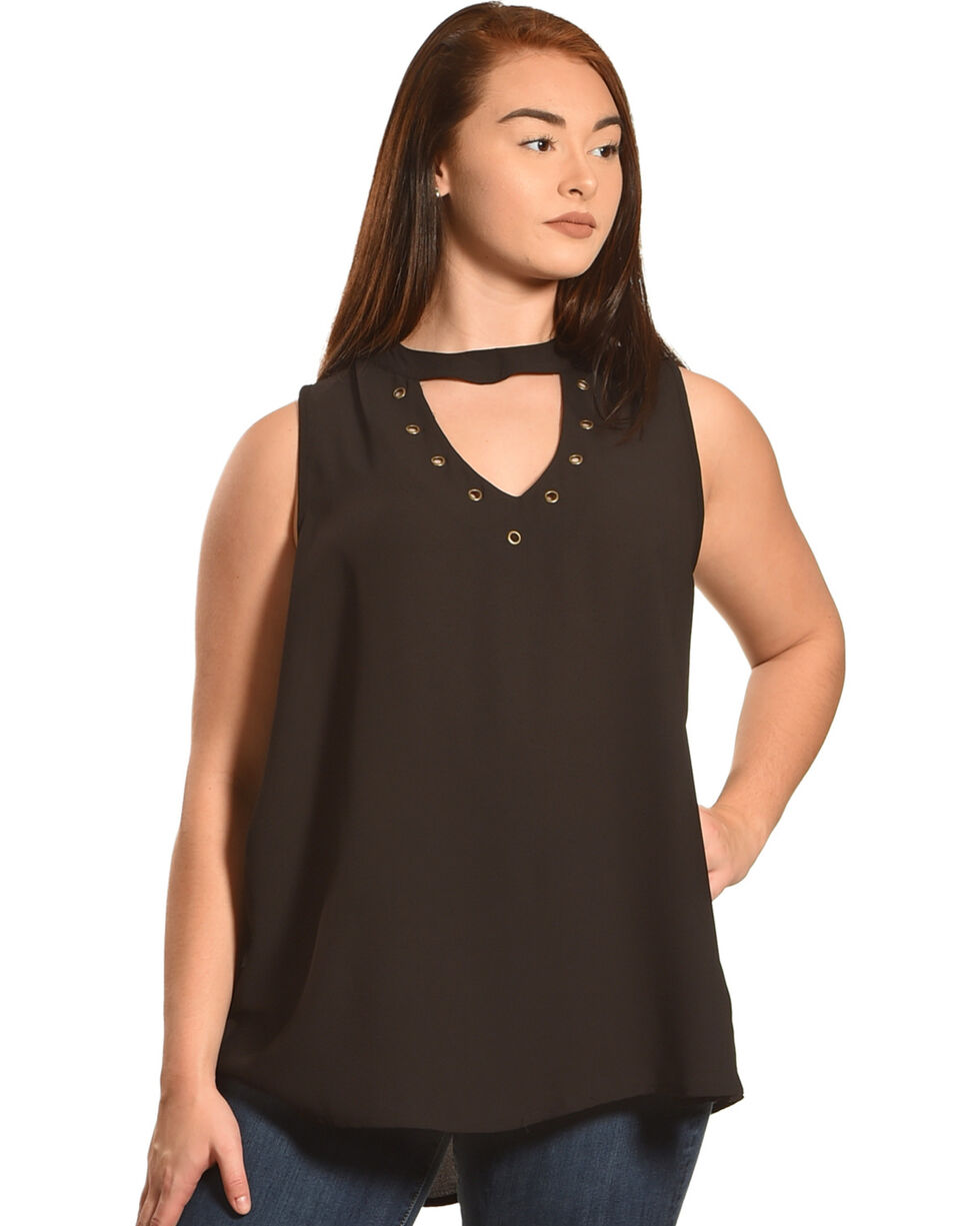 Eyeshadow Women's Choker Neckline Sleeveless Top - Plus, Black, hi-res