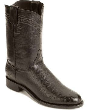 Justin Men's Smooth Ostrich Roper Western Boots, Black, hi-res