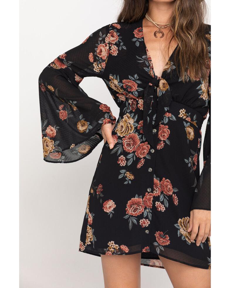 Nikki Erin Women's Black Floral Dobby Button Front Bell Sleeve Dress , Black, hi-res