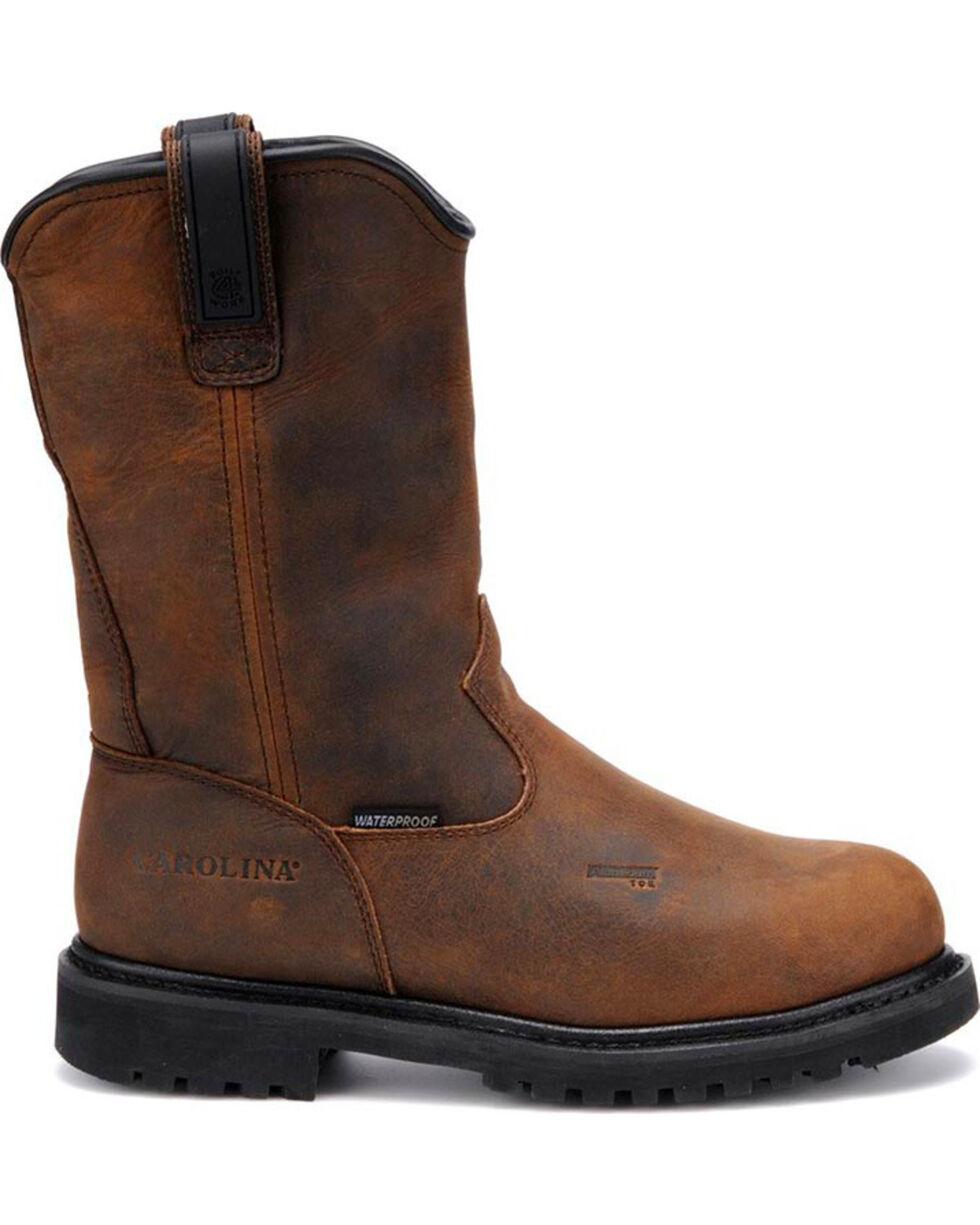 Carolina Men's Aluminum Toe MetGuard Wellington Work Boots, Dark Brown, hi-res