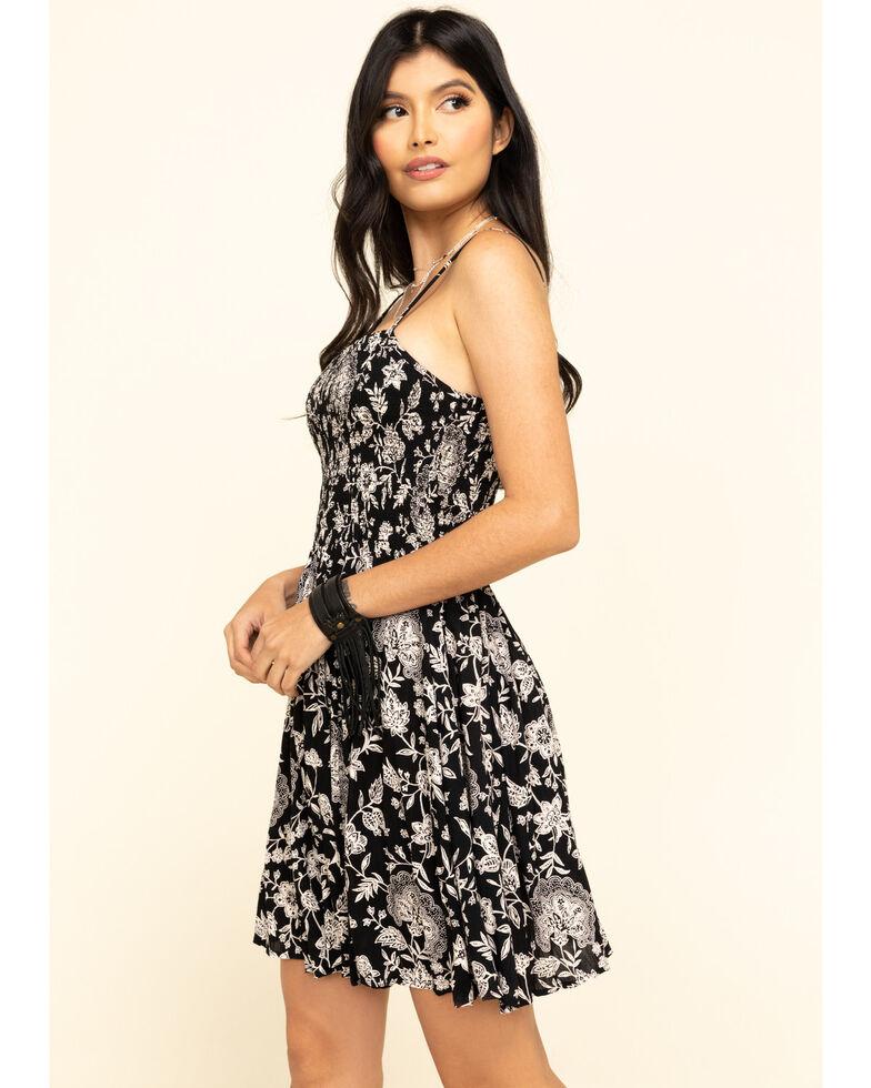 Angie Women's Black Floral Smocked Bodice Sundress, Black, hi-res