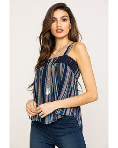 Eyeshadow Women's Stripe Button Down Crochet Trim Tank Top , Navy, hi-res