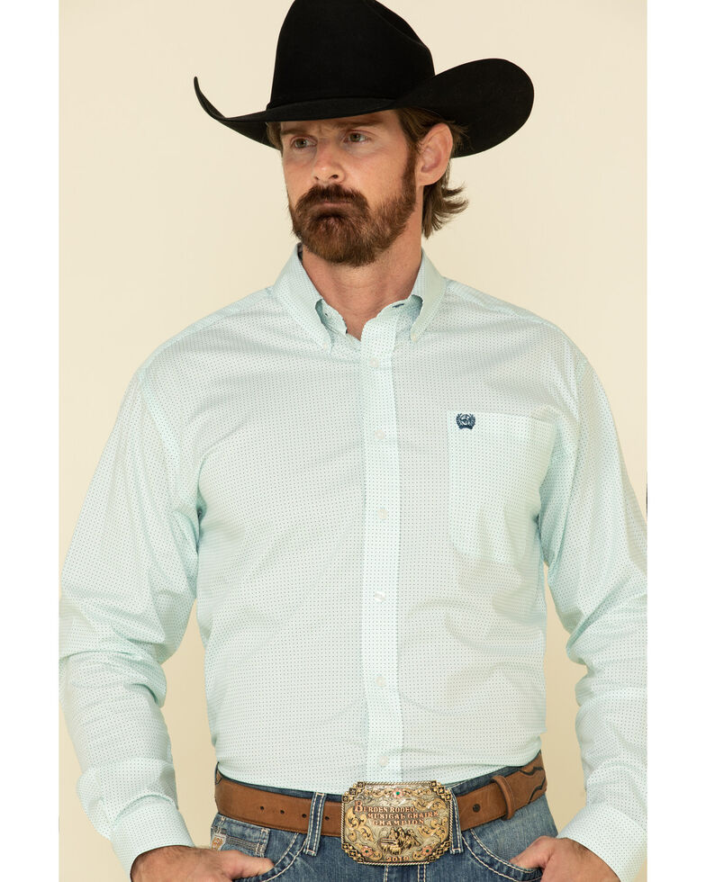 Cinch Men's Light Blue Stretch Geo Print Long Sleeve Western Shirt - Big , Light Blue, hi-res