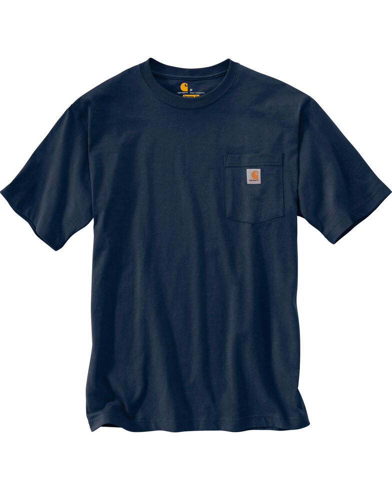 Carhartt Men's Solid Short Sleeve Pocket Work T-Shirt - Big & Tall, Navy, hi-res
