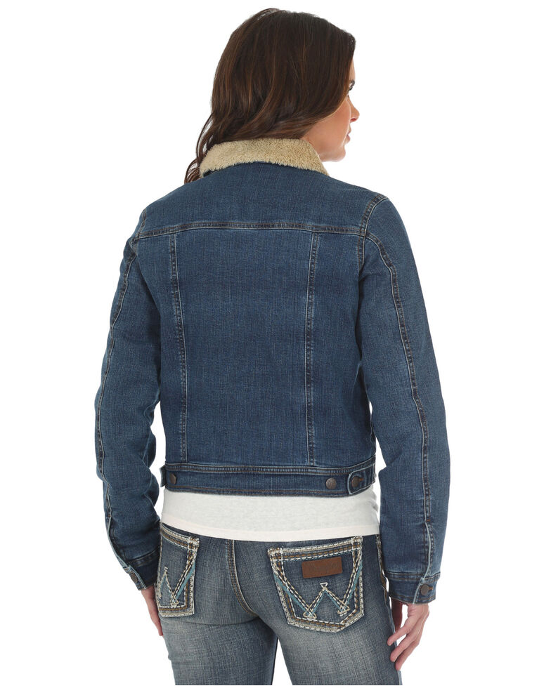Wrangler Women's Sherpa Collar Denim Jacket , Indigo, hi-res