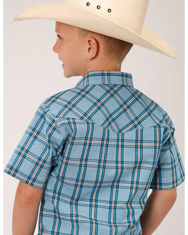 Amarillo Boys' Cold Creek Plaid Short Sleeve Western Shirt , Turquoise, hi-res