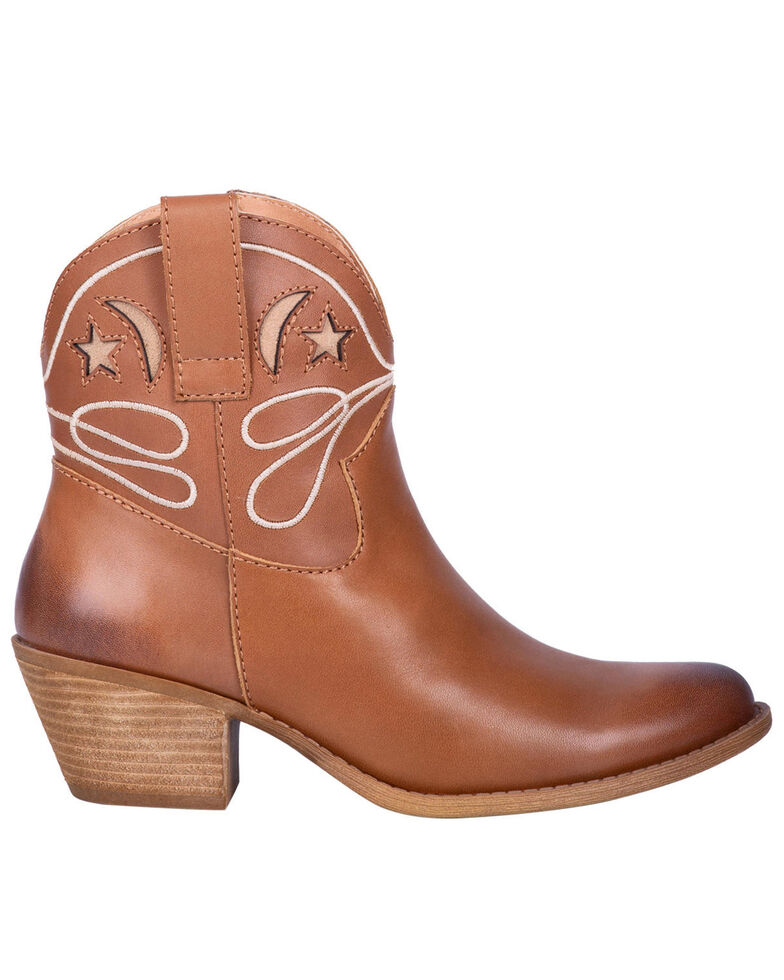 Dingo Women's Urban Cowgirl Western Booties - Round Toe, Brown, hi-res