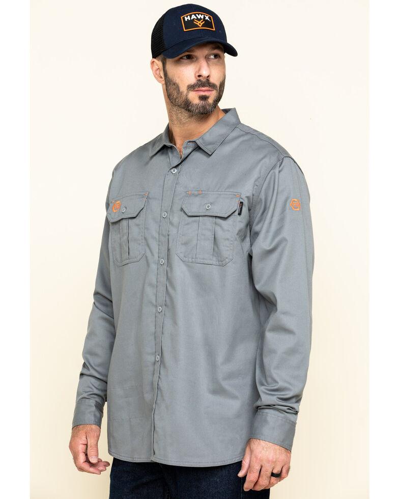 Hawx Men's Grey FR Long Sleeve Woven Work Shirt - Tall , Silver, hi-res
