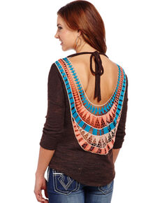 Cowgirl Up Women's Aztec Back Top, Brown, hi-res