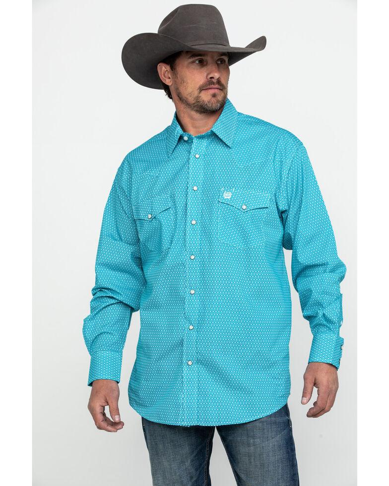 Cinch Men's Teal Geo Print Snap Long Sleeve Western Shirt , Teal, hi-res