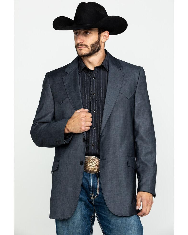 Cripple Creek Men's Grey Solid Window Pane Houston Sport Coat - Big , , hi-res
