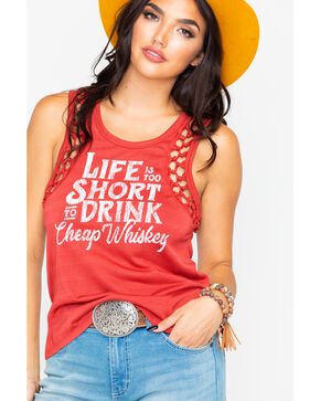 Rock & Roll Cowgirl Women's Life Is Too Short Graphic Tank , Red, hi-res