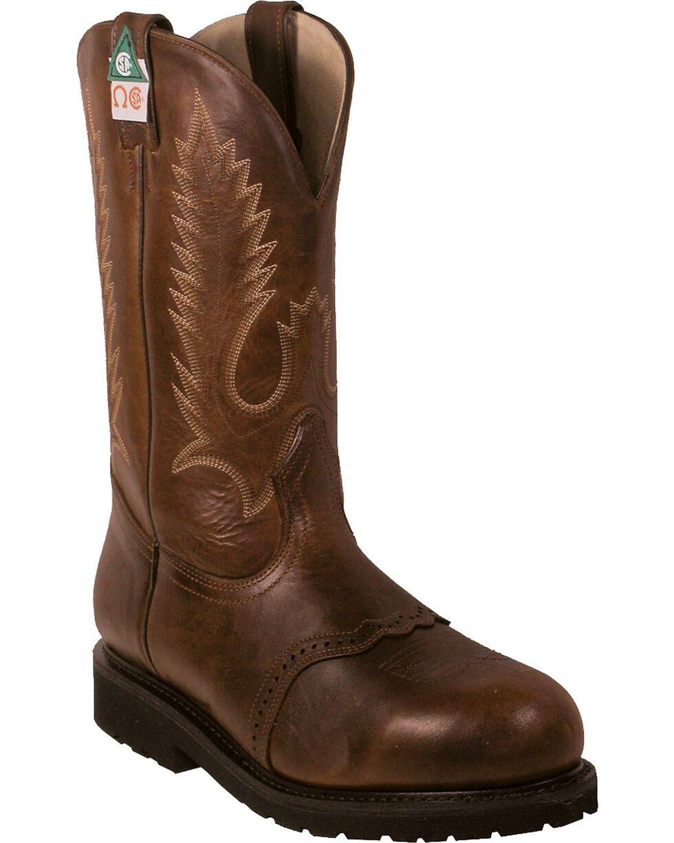 Boulet Pull-On Vibram Work Boots - Steel Toe, Brown, hi-res