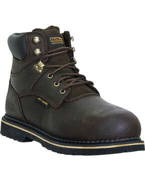 McRae Men's Steel Toe Lacer Work Boots, Dark Brown, hi-res