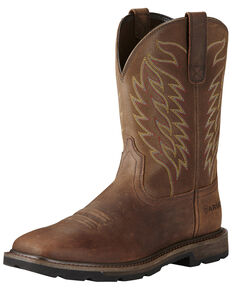 Ariat Men's Groundbreaker Western Work Boots - Steel Toe, Brown, hi-res
