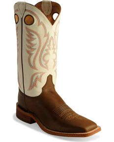 Justin Men's Bent Rail Cowboy Boots - Square Toe, Chocolate, hi-res
