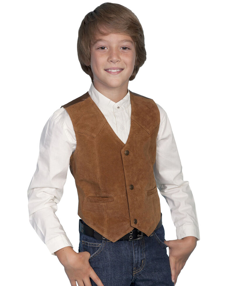 Scully Kid's Boar Suede Vest, Bourbon, hi-res