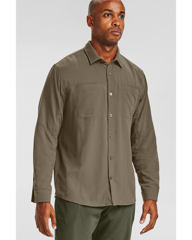 Under Armour Men's Green Payload Button Down Long Sleeve Work Shirt , Green, hi-res