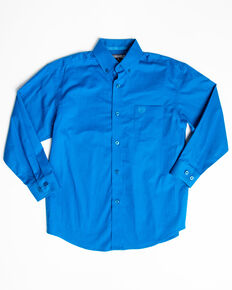Panhandle Select Boys' Sapphire Solid Stretch Long Sleeve Western Shirt , Blue, hi-res