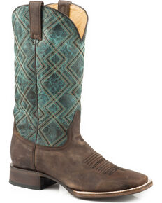 Roper Men's Nash Turquoise Geo Embroidered Cowboy Boots - Square Toe, Brown, hi-res