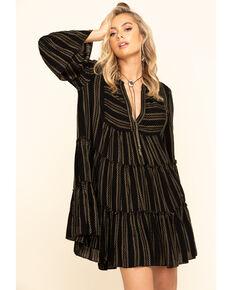 Elan Women's Stripe Tiered Dress, Black, hi-res