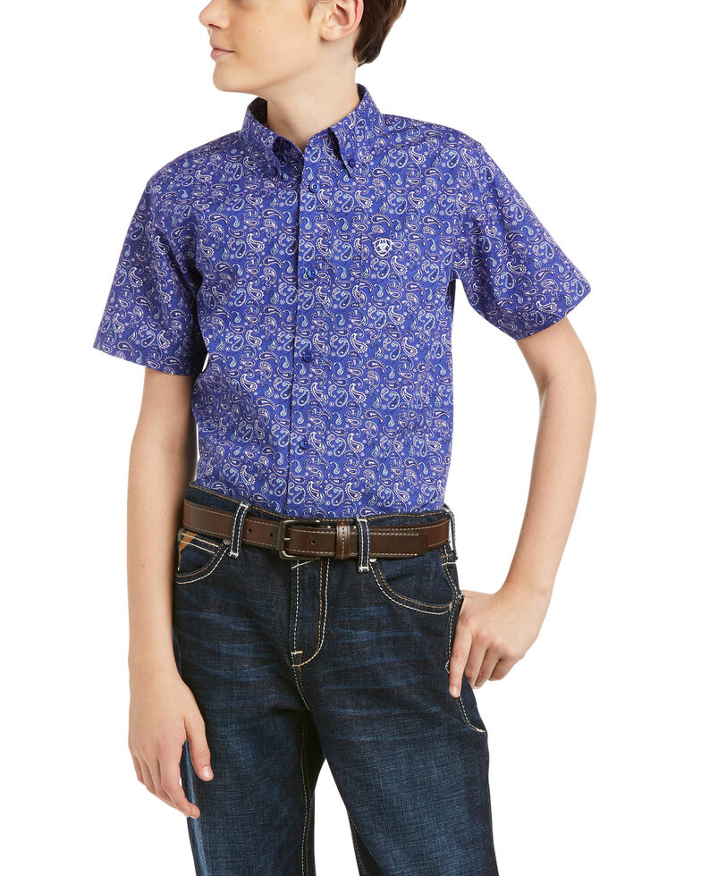 Ariat Boys' Princeton Stretch Paisley Print Long Sleeve Button-Down Western Shirt , Dark Blue, hi-res