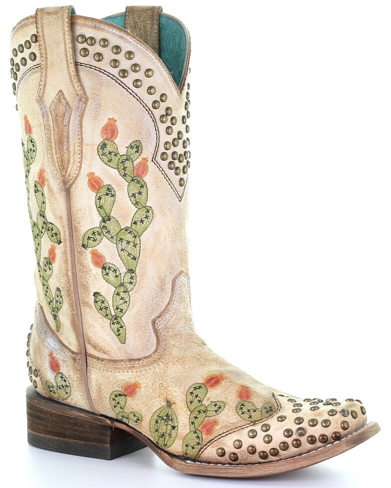 Corral Women's Nopal Embroidery Western Boots - Square Toe, Brown, hi-res