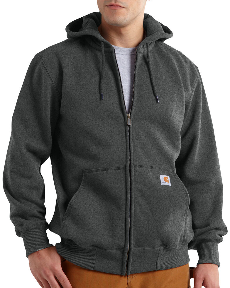 Carhartt Rain Defender Paxton Heavyweight Zip Front Hoodie, Dark Grey, hi-res