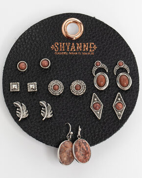 Shyanne Women's Jasper 8 Pack Earring Patch Set, Silver, hi-res