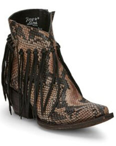 Tony Lama Women's Anahi Fringe Fashion Booties - Snip Toe, Tan, hi-res