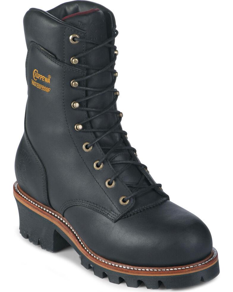 "Chippewa 9"" Insulated Waterproof Super Logger Boots - Steel Toe, Black, hi-res"