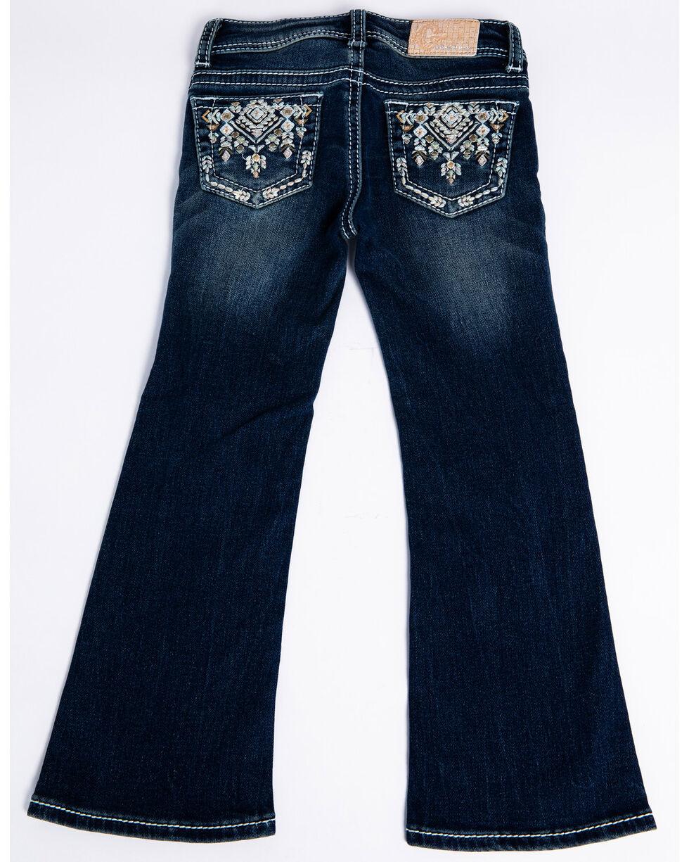 Grace In LA Girls' Embroidered Aztec Pocket Boot Cut Jeans  , Blue, hi-res