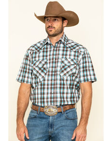 Rough Stock By Panhandle Men's Foothill Ombre Plaid Short Sleeve Western Shirt , Brown, hi-res