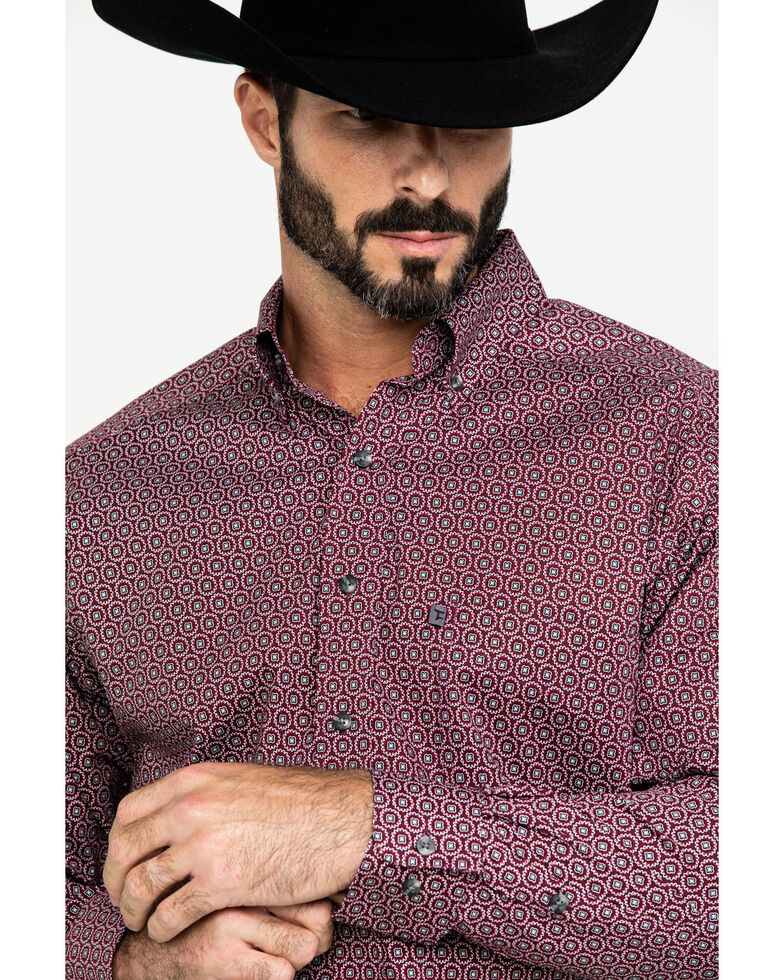 Tuf Cooper Men's Burgundy Stretch Geo Print Long Sleeve Western Shirt , Burgundy, hi-res