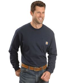 Carhartt Men's Solid Pocket Long Sleeve Work T-Shirt , Navy, hi-res