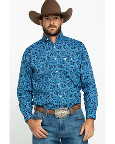 George Strait By Wrangler Men's Blue Paisley Print Poplin Long Sleeve Western Shirt , Blue, hi-res
