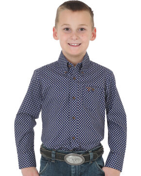 Wrangler 20X Boys' Navy Advanced Comfort Print Shirt , Navy, hi-res