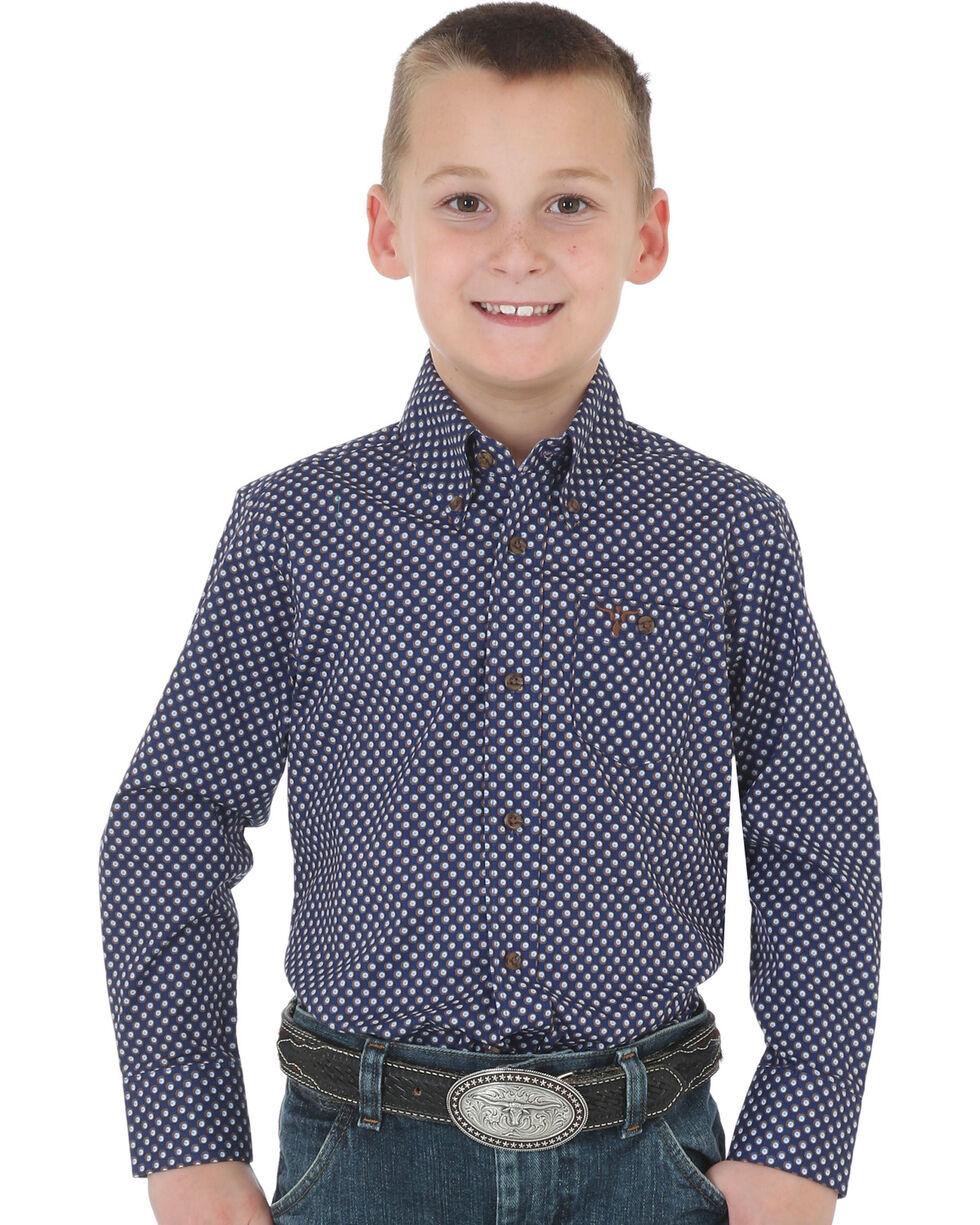 Wrangler 20X Boys' Navy Advanced Comfort Print Shirt , Navy, hi-res